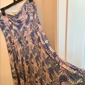 Express paisley strapless dress knee length